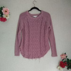 3/$30 Kaisley Pink Distressed Cable Knit Sweater